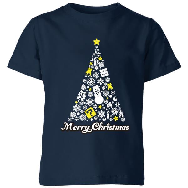 Nintendo Super Mario White Christmas Merry Christmas Kids' T-Shirt - Navy