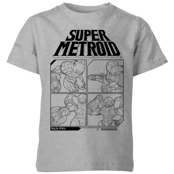 Nintendo Super Metroid Instructional Panel Kids' T-Shirt - Grey