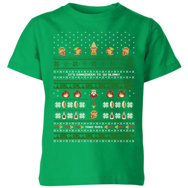 Nintendo Super Mario Retro Christmas Kids' T-Shirt - Kelly Green