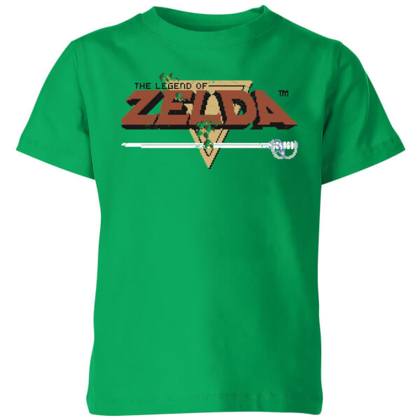 Nintendo The Legend Of Zelda Retro Logo Kids' T-Shirt - Kelly Green