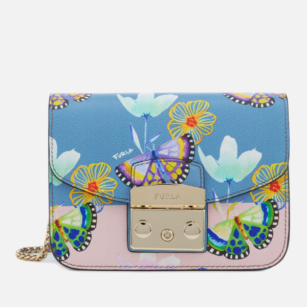 Furla Women's Metropolis Mini Cross Body Bag - Blue/Blush Print