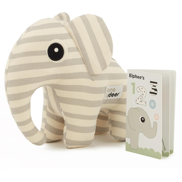Done By Deer Soft Toy 3D Elphee + Booklet - Grey