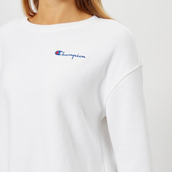 Champion Women s Oversized Crew Neck Sweatshirt - White Womens ... c6c7ad164
