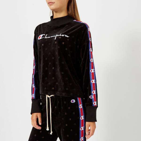 Champion Women's High Neck Velour Sweatshirt - Black: Image 01