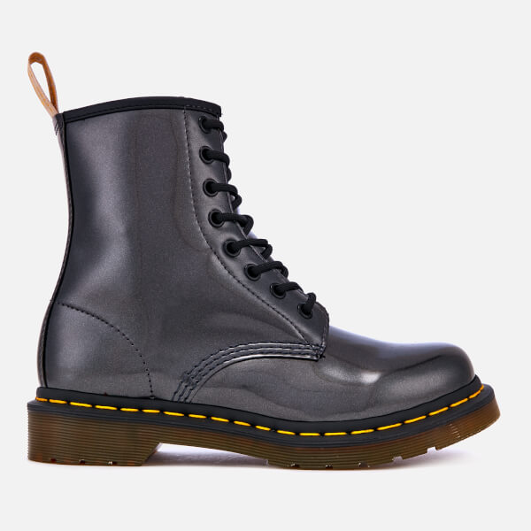Dr. Martens Women's 1460 Vegan Chrome Metallic 8-Eye Boots - Gunmetal