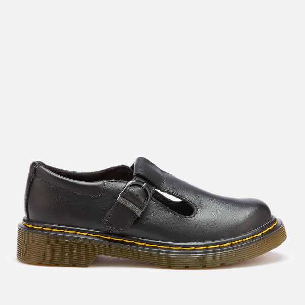 Dr. Martens Kids' Polley J T Lamper Leather T Bar Flats - Black