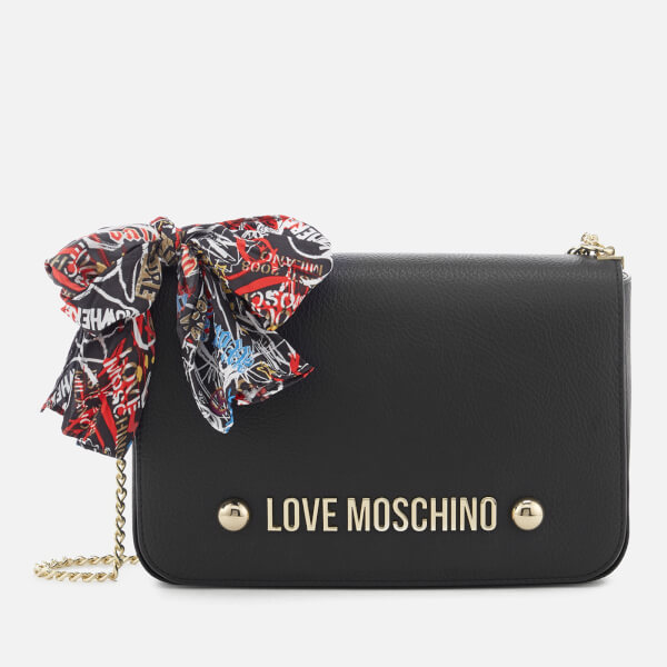 Love Moschino Women s Cross Body Bag with Scarf Bow - Black  Image 1 29281c6fa2244
