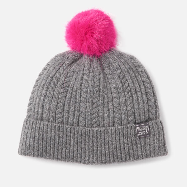 Joules Women's Bobble Hat Fine Cable with Faux Fur Pom - Dark Grey