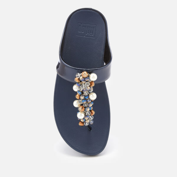 6e546593d74fc7 FitFlop Women s Deco Bejewelled Toe Post Sandals - Midnight Navy  Image 3