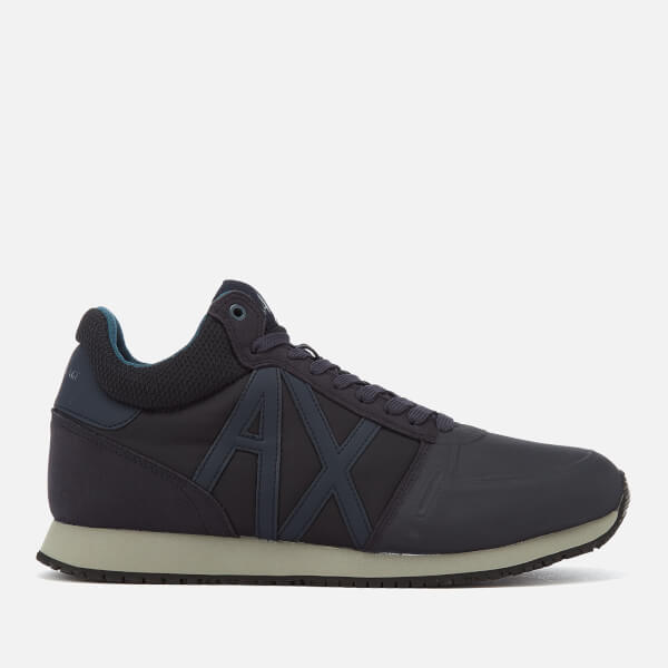 armani exchange men's mid cut running style trainers - navy/india ink - uk 11 - navy