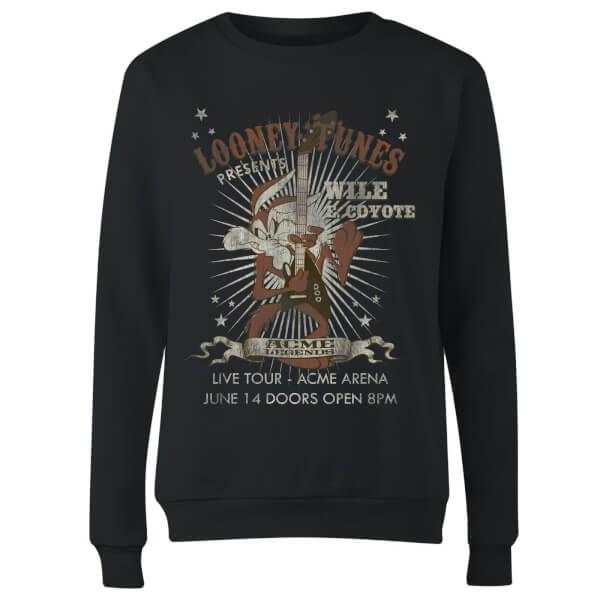 Looney Tunes Wile E Coyote Guitar Arena Tour Women's Sweatshirt - Black