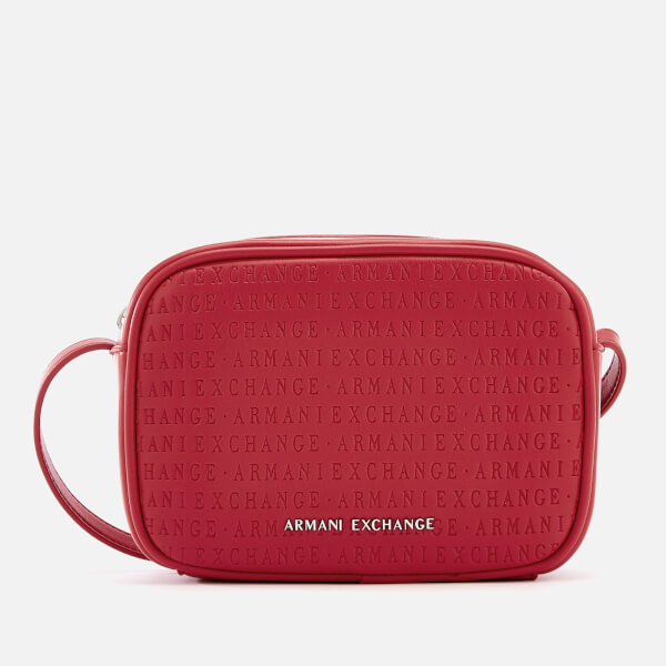 Armani Exchange Women s All Over Logo Embossed Cross Body Bag - Red  Image 1 d36bc4403e000