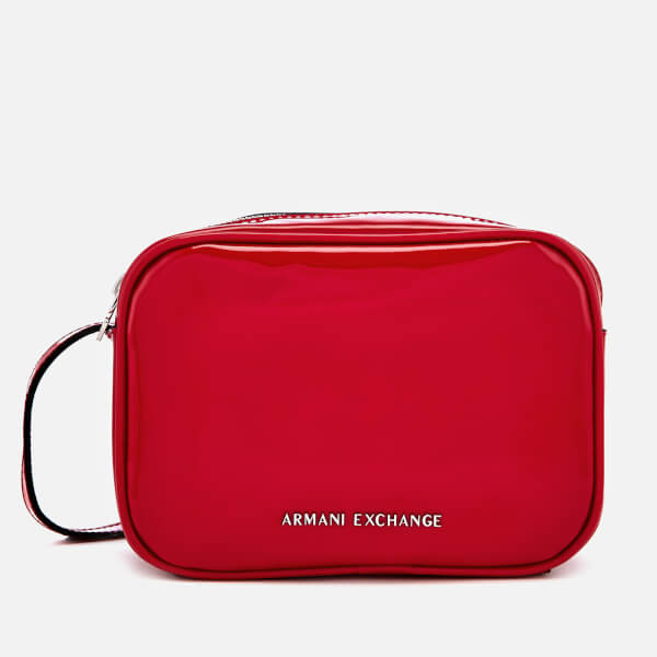 8107102434a Armani Exchange Women s Patent Logo Cross Body Bag - Red Womens ...