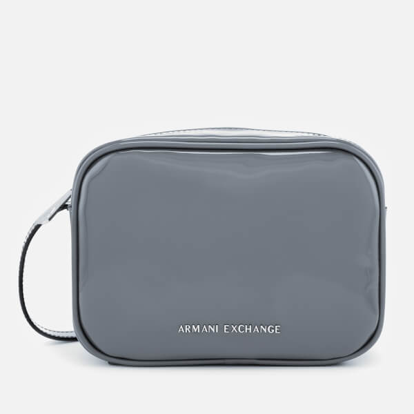 Armani Exchange Women's Patent Logo Cross Body Bag - Grey