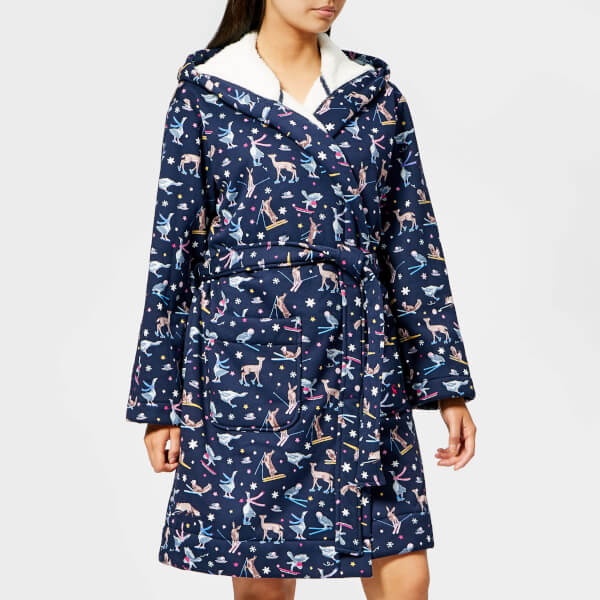 Joules Women's Idlewhile Fleece Inner Dressing Gown - Navy Woodland