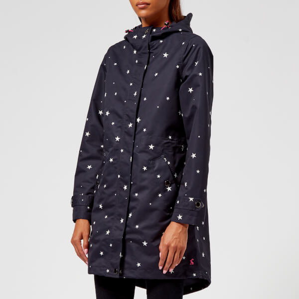 Joules Women's Raine Print Waterproof Parka - Navy Star