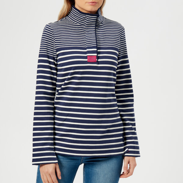 Joules Women's Saunton Classic Funnel Neck Sweatshirt - French Navy Stripe