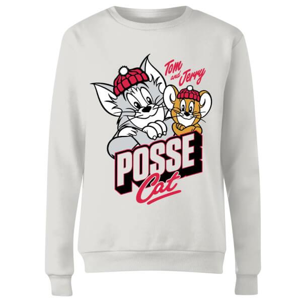 Tom & Jerry Posse Cat Women's Sweatshirt - White