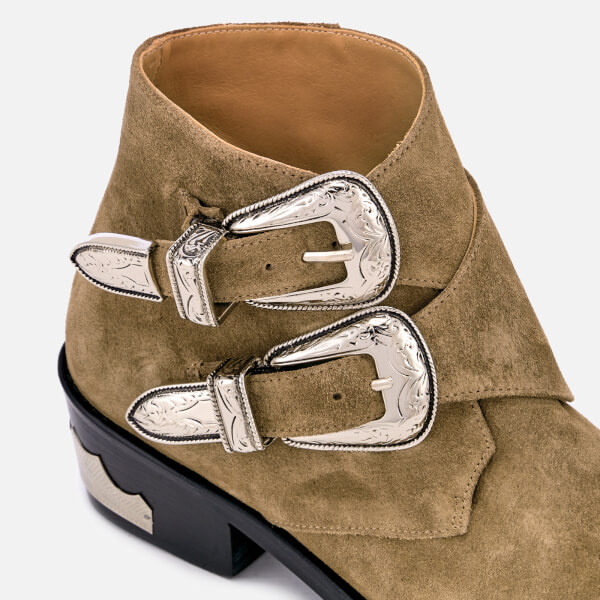 1095e7ab12f9a Toga Pulla Women s Suede Double Buckle Heeled Ankle Boots - Khaki  Image 4
