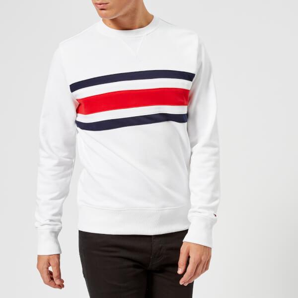 3ea5b03f96eeba Tommy Hilfiger Men s Chest Stripe Sweatshirt - Bright White Mens ...