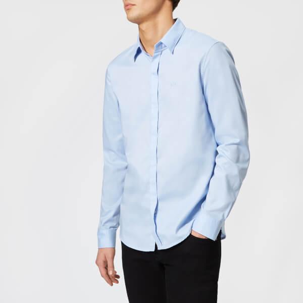 armani exchange men's slim oxford long sleeve shirt - light blue - m
