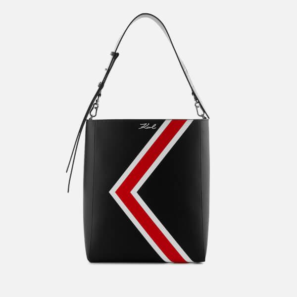 Karl Lagerfeld Women s K Stripes Hobo Bag - Black  Image 1 b4d0562ce6dde