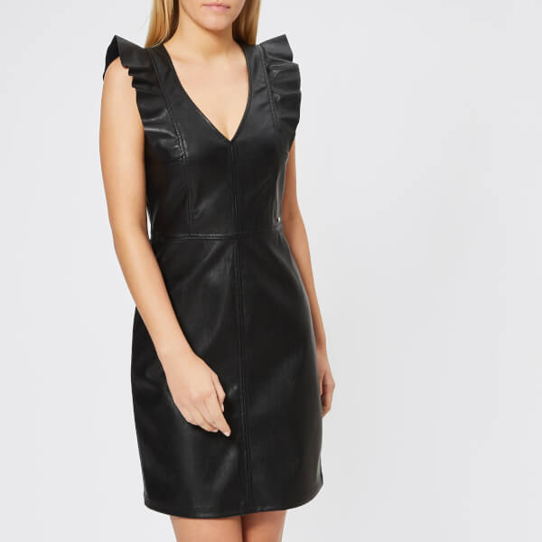 Armani Exchange Womens Stretch Echo Leather Look Dress Black