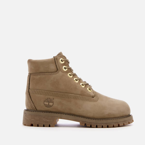 Timberland Kids' 6 Inch Premium Waterproof Leather Boots - New Greige Waterbuck