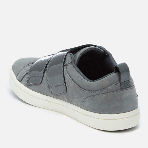 Lacoste Women s Straightset Strap 318 1 Nubuck Trainers - Dark Grey Off  White  Image b29196d4f0