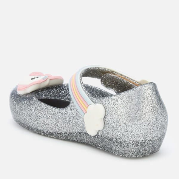 e7a53cacdf8e Mini Melissa Toddlers  Ultragirl Unicorn 20 Ballet Flats - Silver Glitter   Image 3