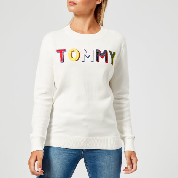 Tommy Hilfiger Womens Tasha Graphic Crew Neck Sweatshirt White
