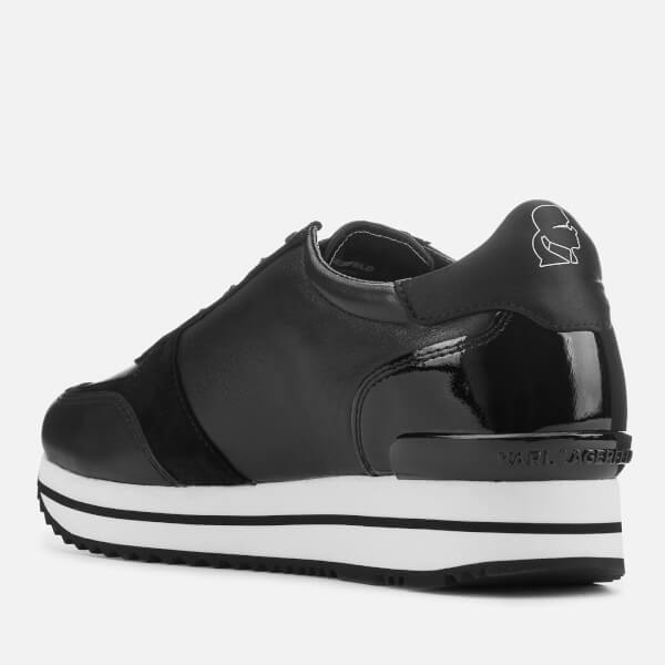 39cc1430a432 Karl Lagerfeld Women s Velocita II Leather Suede Karl Ikonic Meteor Lace  Runner Trainers - Black