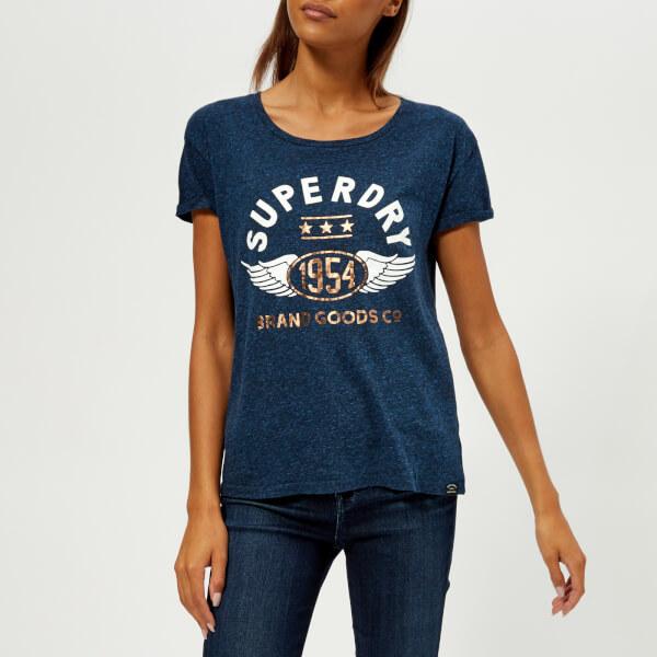 Superdry Women's 1954 Brand Goods Slim T-Shirt - Rugged Navy - XS Clearance Cheap Sale Websites Sale 2018 Sale Choice 8dF2sE99U