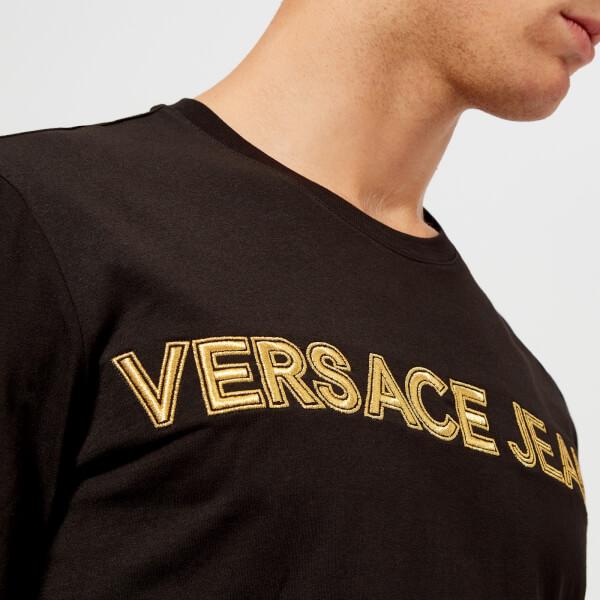 a5090eb751ce9 Versace Jeans Men s Gold Logo Long Sleeve T-Shirt - Black Clothing ...