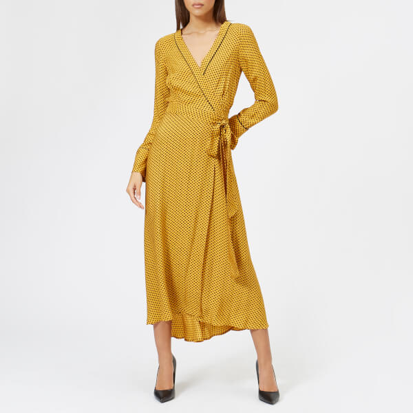 a9107d85d3c bec & bridge women's sun valley long sleeve dress - spot print mustard - uk  12