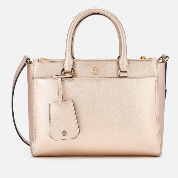 c28c41afb6f Tory Burch Women s Robinson Small Metallic Small Double Zip Tote Bag -  Light Rose Gold