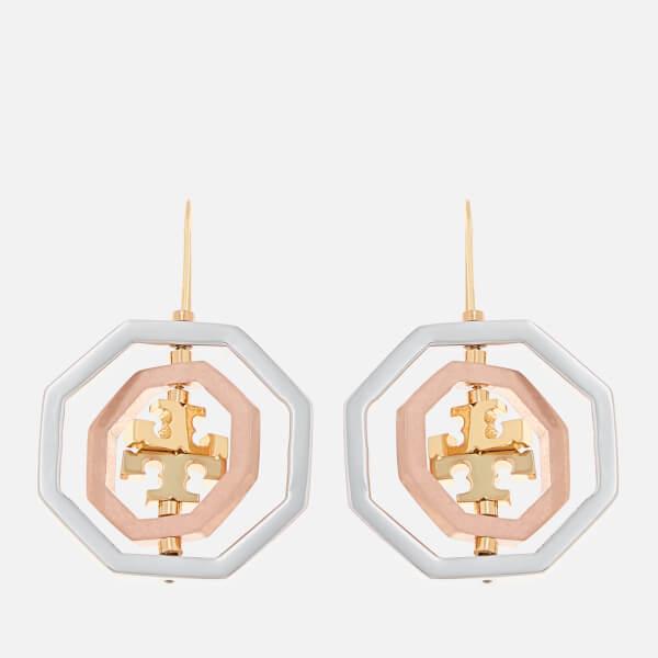 Tory Burch Women's Logo Spinner Drop Earrings - Gold/Silver/Rose Gold