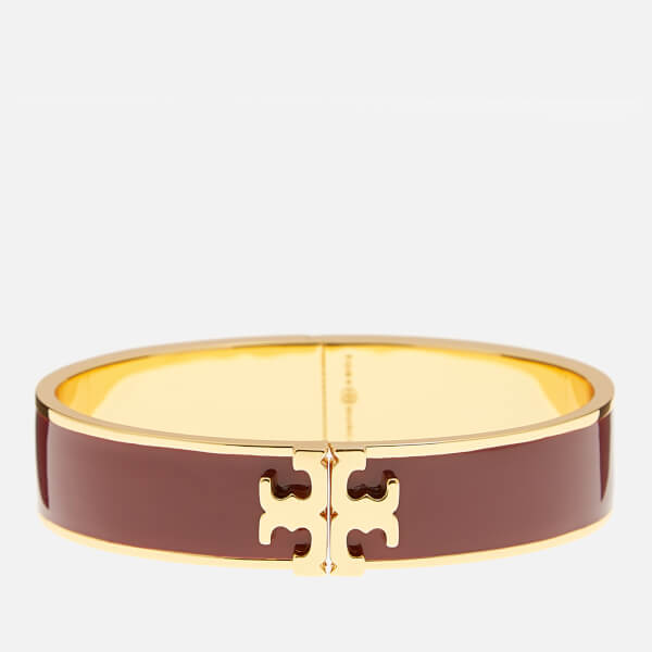 Tory Burch Women's Raised Logo Enamel Hinged Bracelet - Tuscan Wine/Gold