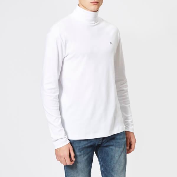 calvin klein jeans men's ckj logo long sleeve regular turtleneck t-shirt - bright white - xxl - white