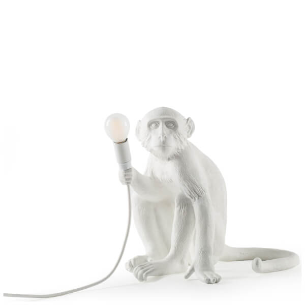 Seletti Indoor/Outdoor Sitting Monkey Lamp - White