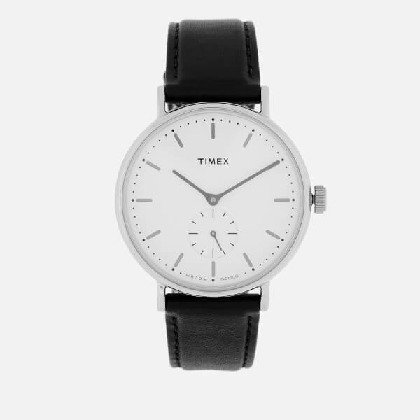 Timex Men's Fairfield Sub-Second Leather Strap Watch - Silver-Tone/Black/White