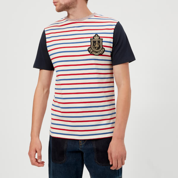 JW Anderson Men's Panelled Breton T-Shirt - Ruby