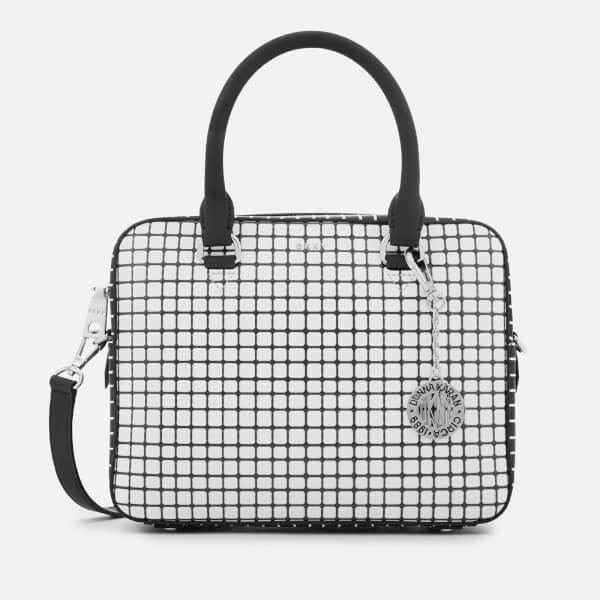 DKNY Women's Bryant Top Zip Satchel Bag - White/Black
