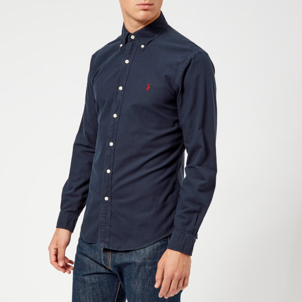 Polo Ralph Lauren Men's Garment Dyed Oxford Long Sleeve Shirt - RL Navy