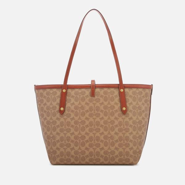 4990e9d5a ... discount code for coach womens coated canvas signature market tote bag  tan rust image 2 e3f75 ...