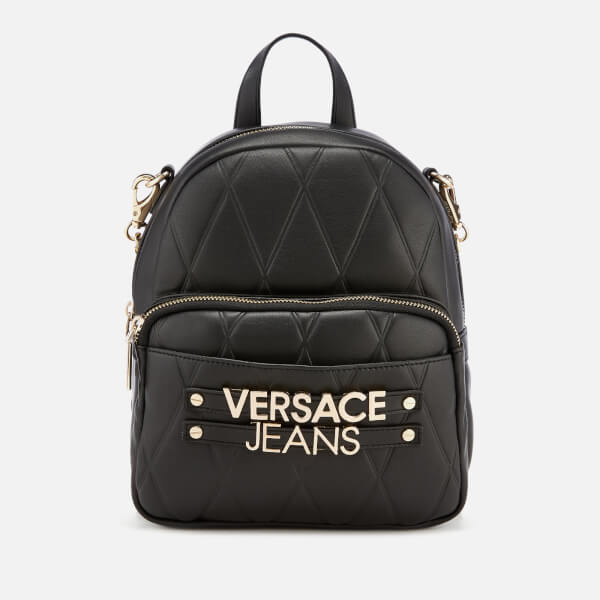 d371e47061cf Versace Jeans Women s Quilted Logo Backpack with Chain Detail - Black   Image 1