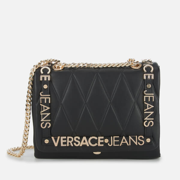 c20876647d5 Versace Jeans Women s Quilted Logo Chain Handle Cross Body Bag - Black   Image 1