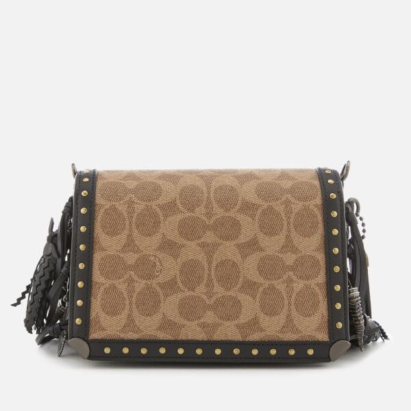 8eae49e1dc8b8 ... switzerland coach 1941 womens exclusive floral signature print dinky 19  cross body bag tan black 992b9