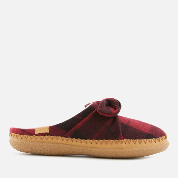 TOMS Women's Plaid Felt Bow Slippers - Red
