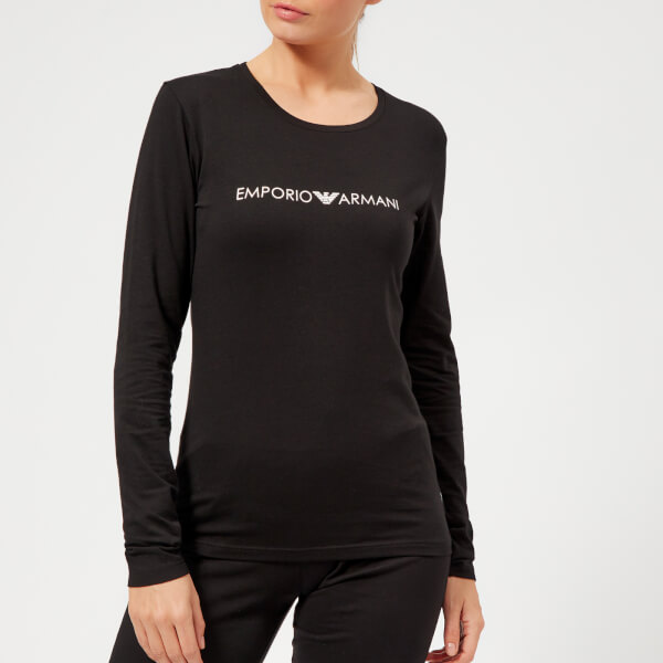 fa318bb0bd287 Emporio Armani Women s Iconic Logoband Long Sleeve T-Shirt - Black  Image 1